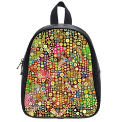 Multicolored Retro Spots Polka Dots Pattern School Bags (small)  by EDDArt