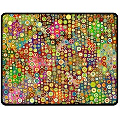 Multicolored Retro Spots Polka Dots Pattern Fleece Blanket (medium)  by EDDArt