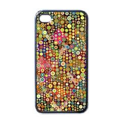Multicolored Retro Spots Polka Dots Pattern Apple Iphone 4 Case (black) by EDDArt