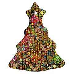 Multicolored Retro Spots Polka Dots Pattern Christmas Tree Ornament (two Sides) by EDDArt