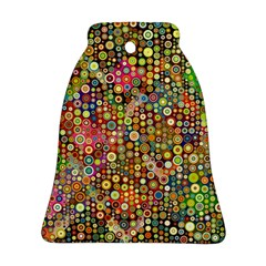 Multicolored Retro Spots Polka Dots Pattern Bell Ornament (two Sides) by EDDArt