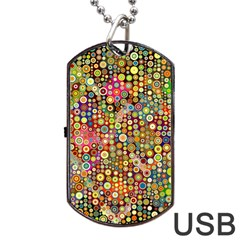 Multicolored Retro Spots Polka Dots Pattern Dog Tag Usb Flash (one Side) by EDDArt
