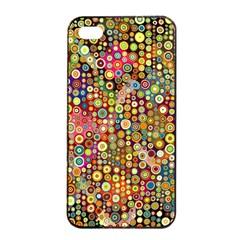 Multicolored Retro Spots Polka Dots Pattern Apple Iphone 4/4s Seamless Case (black) by EDDArt