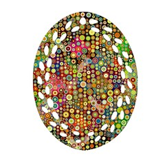 Multicolored Retro Spots Polka Dots Pattern Oval Filigree Ornament (two Sides) by EDDArt