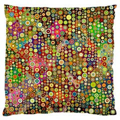Multicolored Retro Spots Polka Dots Pattern Large Cushion Case (one Side) by EDDArt
