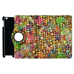 Multicolored Retro Spots Polka Dots Pattern Apple Ipad 2 Flip 360 Case by EDDArt