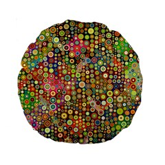 Multicolored Retro Spots Polka Dots Pattern Standard 15  Premium Round Cushions by EDDArt