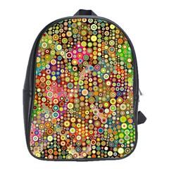 Multicolored Retro Spots Polka Dots Pattern School Bags (xl)  by EDDArt