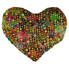 Multicolored Retro Spots Polka Dots Pattern Large 19  Premium Heart Shape Cushions by EDDArt