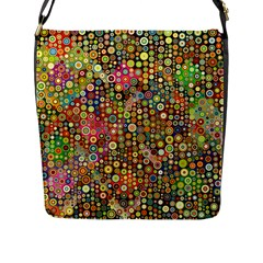 Multicolored Retro Spots Polka Dots Pattern Flap Messenger Bag (l)  by EDDArt