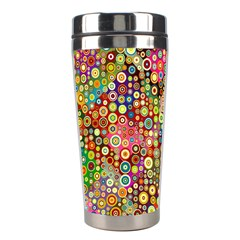 Multicolored Retro Spots Polka Dots Pattern Stainless Steel Travel Tumblers by EDDArt