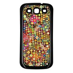 Multicolored Retro Spots Polka Dots Pattern Samsung Galaxy S3 Back Case (black) by EDDArt