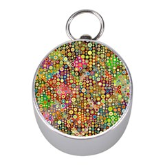 Multicolored Retro Spots Polka Dots Pattern Mini Silver Compasses by EDDArt