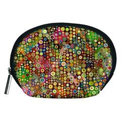 Multicolored Retro Spots Polka Dots Pattern Accessory Pouches (medium)  by EDDArt