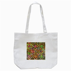 Multicolored Retro Spots Polka Dots Pattern Tote Bag (white) by EDDArt