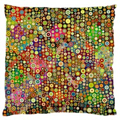 Multicolored Retro Spots Polka Dots Pattern Large Flano Cushion Case (two Sides) by EDDArt