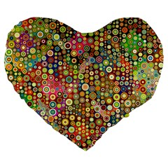Multicolored Retro Spots Polka Dots Pattern Large 19  Premium Flano Heart Shape Cushions by EDDArt