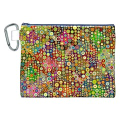 Multicolored Retro Spots Polka Dots Pattern Canvas Cosmetic Bag (xxl) by EDDArt