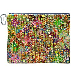Multicolored Retro Spots Polka Dots Pattern Canvas Cosmetic Bag (xxxl) by EDDArt