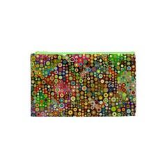 Multicolored Retro Spots Polka Dots Pattern Cosmetic Bag (xs) by EDDArt