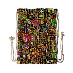 Multicolored Retro Spots Polka Dots Pattern Drawstring Bag (small) by EDDArt