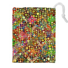 Multicolored Retro Spots Polka Dots Pattern Drawstring Pouches (xxl) by EDDArt