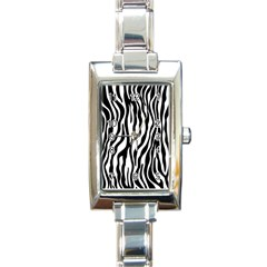 Zebra Stripes Pattern Traditional Colors Black White Rectangle Italian Charm Watch by EDDArt