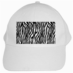 Zebra Stripes Pattern Traditional Colors Black White White Cap by EDDArt