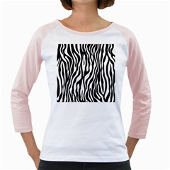 Zebra Stripes Pattern Traditional Colors Black White Girly Raglans by EDDArt