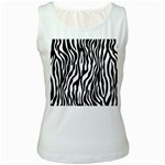 Zebra Stripes Pattern Traditional Colors Black White Women s White Tank Top Front