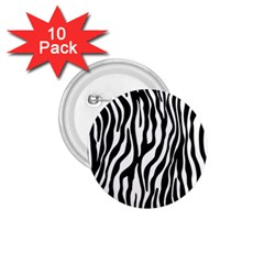Zebra Stripes Pattern Traditional Colors Black White 1 75  Buttons (10 Pack) by EDDArt