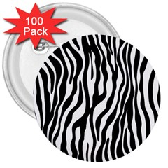 Zebra Stripes Pattern Traditional Colors Black White 3  Buttons (100 Pack)  by EDDArt