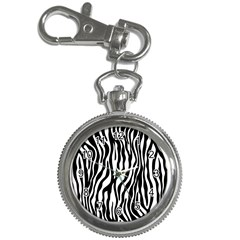 Zebra Stripes Pattern Traditional Colors Black White Key Chain Watches by EDDArt
