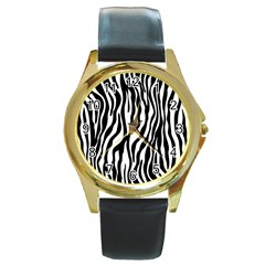 Zebra Stripes Pattern Traditional Colors Black White Round Gold Metal Watch by EDDArt