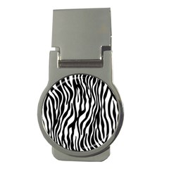 Zebra Stripes Pattern Traditional Colors Black White Money Clips (round)  by EDDArt