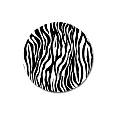 Zebra Stripes Pattern Traditional Colors Black White Magnet 3  (round) by EDDArt