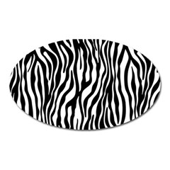 Zebra Stripes Pattern Traditional Colors Black White Oval Magnet by EDDArt