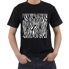 Zebra Stripes Pattern Traditional Colors Black White Men s T Shirt (black) (two Sided) by EDDArt