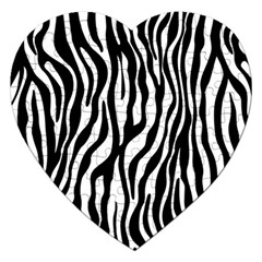 Zebra Stripes Pattern Traditional Colors Black White Jigsaw Puzzle (heart) by EDDArt