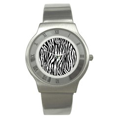 Zebra Stripes Pattern Traditional Colors Black White Stainless Steel Watch by EDDArt