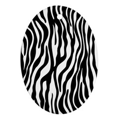 Zebra Stripes Pattern Traditional Colors Black White Oval Ornament (two Sides) by EDDArt