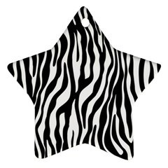 Zebra Stripes Pattern Traditional Colors Black White Star Ornament (two Sides) by EDDArt