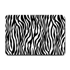 Zebra Stripes Pattern Traditional Colors Black White Small Doormat  by EDDArt