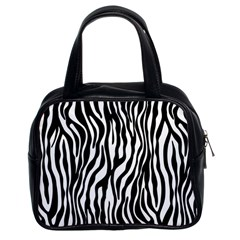 Zebra Stripes Pattern Traditional Colors Black White Classic Handbags (2 Sides) by EDDArt