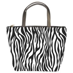Zebra Stripes Pattern Traditional Colors Black White Bucket Bags by EDDArt