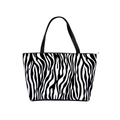 Zebra Stripes Pattern Traditional Colors Black White Shoulder Handbags by EDDArt