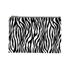 Zebra Stripes Pattern Traditional Colors Black White Cosmetic Bag (large)  by EDDArt
