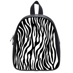 Zebra Stripes Pattern Traditional Colors Black White School Bags (small)  by EDDArt