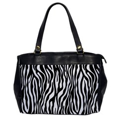 Zebra Stripes Pattern Traditional Colors Black White Office Handbags by EDDArt
