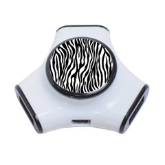 Zebra Stripes Pattern Traditional Colors Black White 3 Port Usb Hub by EDDArt